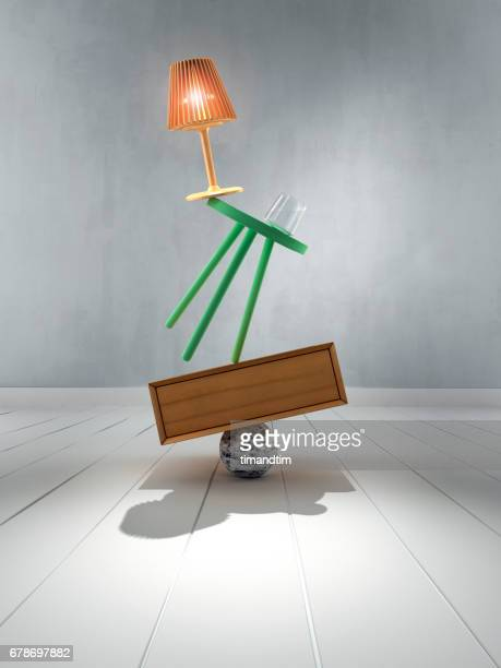 lamp, stool, glass, box and sphere in balance - group of objects stock photos and pictures