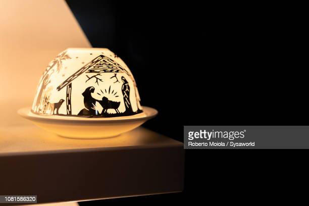 lamp with christmas symbols, vienna - nativity stock photos and pictures