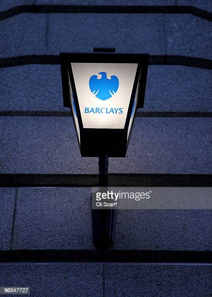 A lamp with the Barclays bank logo is seen on a branch in the financial district on February 9 2010 in London England As the UK gears up for one of...