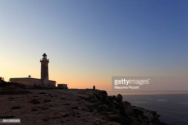 Lampedusa lighthouse at sunset