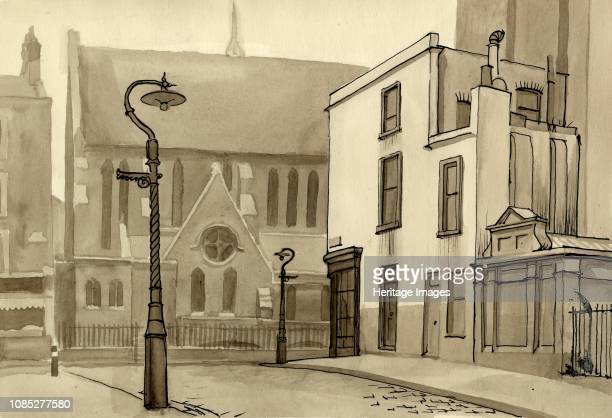 Lamppost and church circa 1951 Artist Shirley Markham