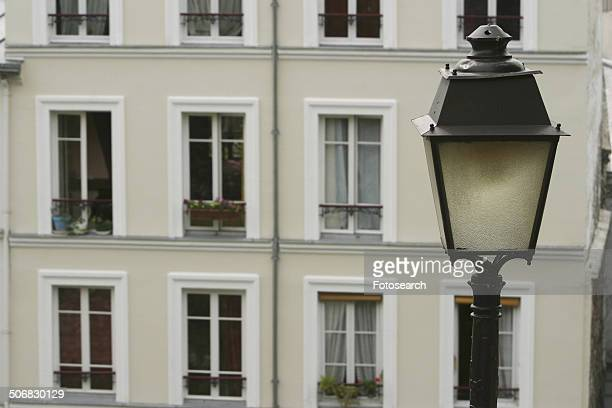 Lamppost with a building