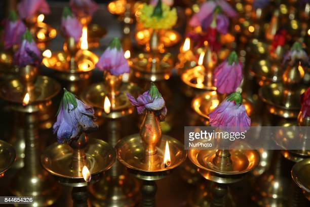 Lamps during Varalaxmi Pooja at a Tamil Hindu temple in Toronto Ontario Canada Varalaxmi Pooja is performed by married woman to pray for the well...