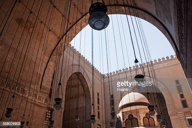 Lamps In An Iwan And Ablution Fountain Of Sultan Hassan Mosque And Madrassa Cairo Al Qahirah Egypt