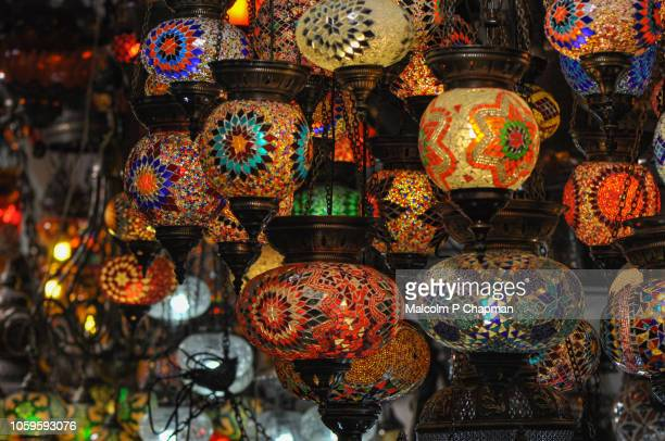 lamps in the grand bazaar, istanbul, turkey - bazaar stockfoto's en -beelden