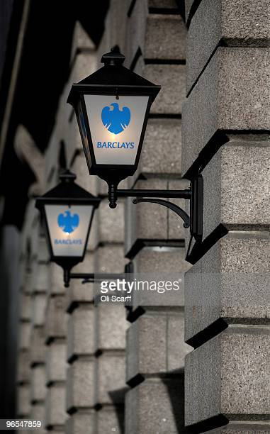 Lamps with the Barclays bank logo are seen on a branch in the financial district on February 9 2010 in London England As the UK gears up for one of...