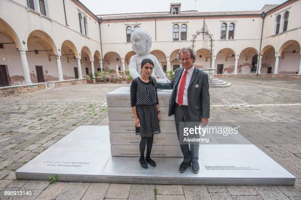 Lamya Haji Bashar and Manfred Nowak pose for a portrait during the conference presentation at Eiuc at Monastero of San Nicolò on June 14 2017 in...