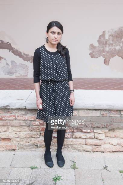 Lamya Haji Bashar poses for a portrait during the conference presentation at Eiuc at Monastero of San Nicolò on June 14 2017 in Venice Italy The...