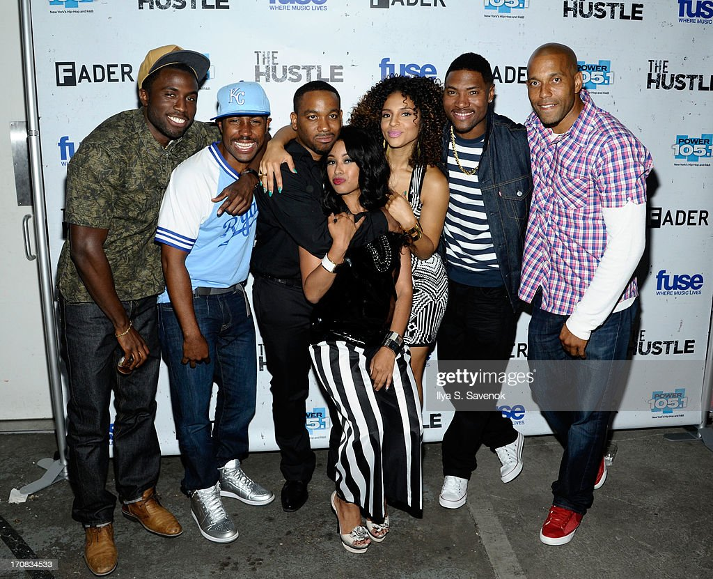 Y'lan Noel, Prentice Penny, Clinton Lowe, Davetta Sherwood, Erica Dickerson, London Brown and Brooklyn McLinn attend Fuse's screening of 'The Hustle' at Converse Rubber Tracks Studio on June 18, 2013 in the Brooklyn borough of New York City.