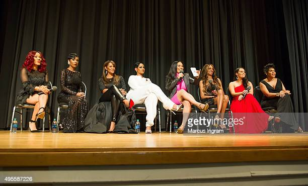 A'Lana Banks Jae Christian Gwen Moss Tahlia Diaz Egypt Sherrod Chrishena Stanley Sarah Lowe and Okevia Wilson onstage during 'Selling It In the ATL'...
