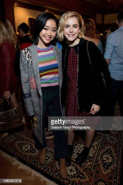 Lana Condor and Kiernan Shipka attend the special preview of Netflix's original series 'Chilling Adventures of Sabrina' at the Spellman House in...