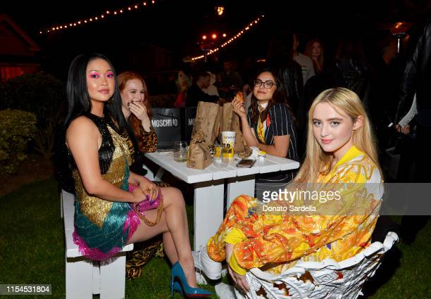 Lana Condor Madelaine Petsch Camila Mendes and Kathryn Newton attend the Moschino Spring/Summer 20 Menswear and Women's Resort Collection party at...
