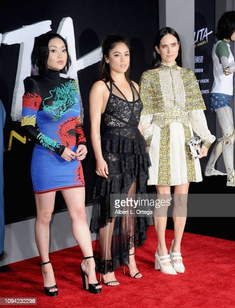 Lana Condor Rosa Salazar and Jennifer Connelly arrive for the Premiere Of 20th Century Fox's Alita Battle Angel held at Westwood Regency Theater on...