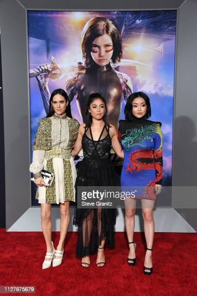Lana Condor Rosa Salazar and Jennifer Connelly attend the premiere of 20th Century Fox's Alita Battle Angel at Westwood Regency Theater on February...