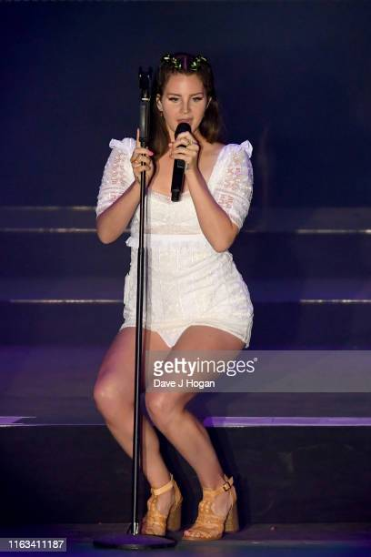 Lana Del Ray performs on stage during Latitude Festival 2019 at Henham Park on July 21 2019 in Southwold England