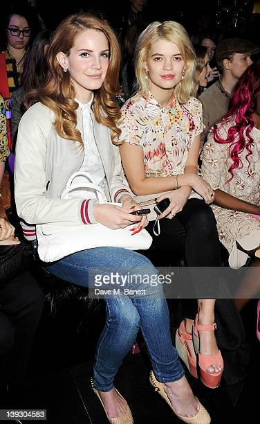 Lana Del Rey and Pixie Geldof sit in the front row at the Mulberry Autumn/Winter 2012 show during London Fashion Week at Claridge's Hotel on February...