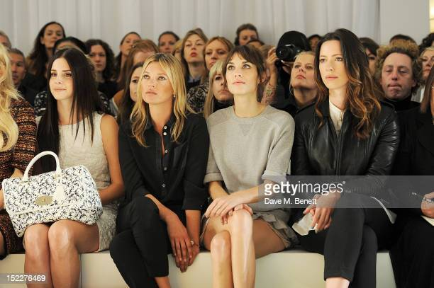 Lana Del Rey Kate Moss Alexa Chung and Rebecca Hall sit in the front row during the Mulberry Spring/Summer 2013 Show during London Fashion Week at...