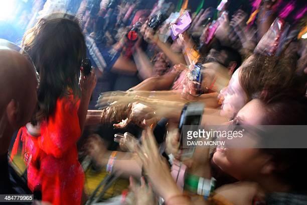 Lana Del Rey performs at the Coachella Valley Music Arts Festival at the Empire Polo Club in Indio California April 13 2014 The annual music festival...