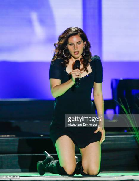 Lana del Rey performs during Lollapaloosa Sao Paulo 2018 at the Interlagos racetrack on March 25, 2018 in Sao Paulo, Brazil.