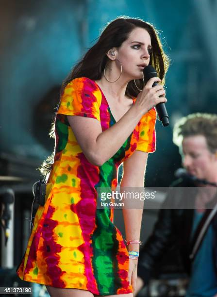 Lana del Rey performs on the Pyramid Stage during Day 2 of the Glastonbury Festival at Worthy Farm on June 28 2014 in Glastonbury England