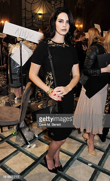 Lana Del Rey poses backstage at the Mulberry Autumn Winter 2013 show during London Fashion Week at Claridge's Hotel on February 17 2013 in London...