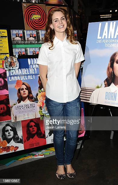 """Lana Del Rey poses for photos after her performance at Amoeba Music Hollywood to celebrate her debut album """"Born To Die"""" on February 7, 2012 in..."""