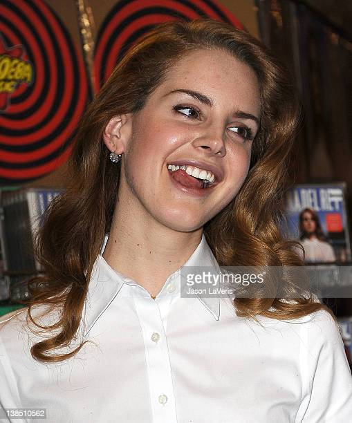 Lana Del Rey poses for photos after her performance at Amoeba Music Hollywood to celebrate her debut album Born To Die on February 7 2012 in...