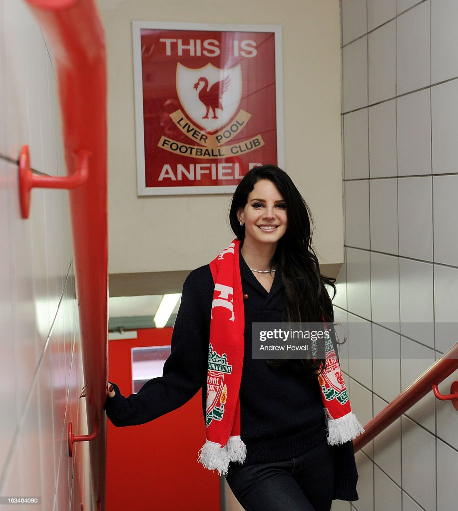 (THE SUN OUT, THE SUN ON SUNDAY OUT) Lana Del Rey poses in the players' tunnel under the 'This Is Anfield' sign before the Barclays Premier League match between Liverpool and Tottenham Hotspur at Anfield on March 10, 2013 in Liverpool, England.