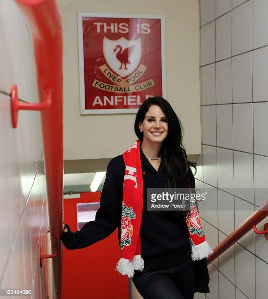 Lana Del Rey poses in the players' tunnel under the 'This Is Anfield' sign before the Barclays Premier League match between Liverpool and Tottenham...