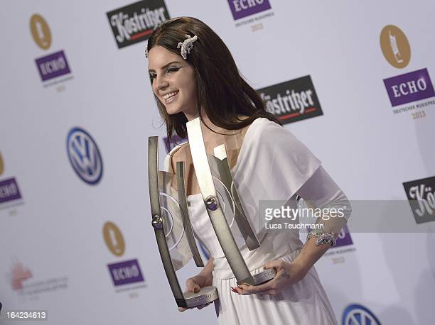 Lana Del Rey poses with awards at the Echo Awards 2013 at Palais am Funkturm on March 21 2013 in Berlin Germany