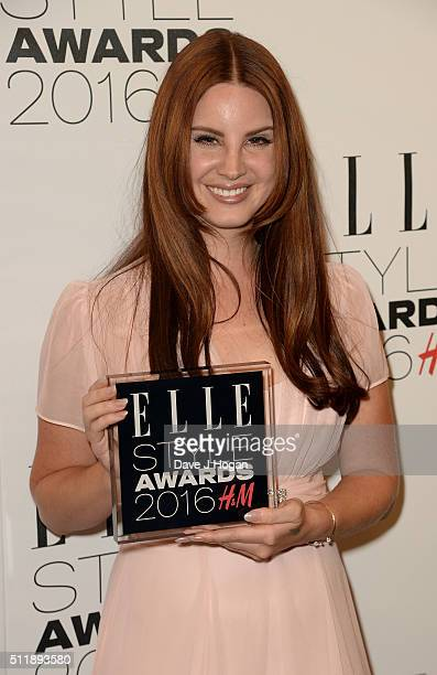 Lana Del Rey winner of the female artist of the year award poses in the winners room at The Elle Style Awards 2016 on February 23 2016 in London...