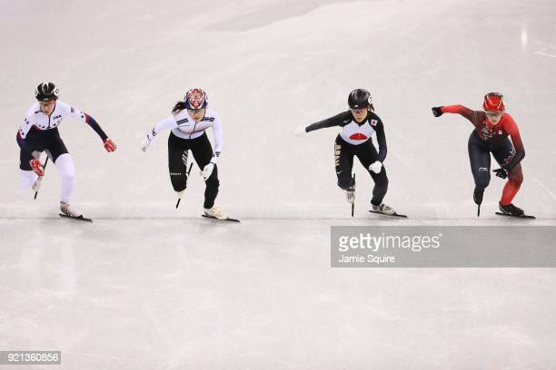 Lana Gehring of the United States Alang Kim of Korea Sumire Kikuchi of Japan and Marianne St Gelais of Canada compete during the Ladies Short Track...