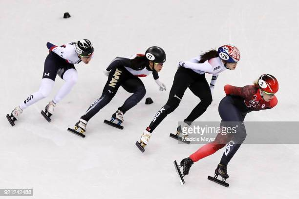 Lana Gehring of the United States Sumire Kikuchi of Japan Alang Kim of Korea and Marianne St Gelais of Canada during the Ladies Short Track Speed...