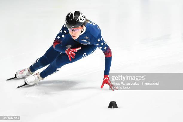 Lana Gehring of the USA competes in the women's 500 meter heats during the World Short Track Speed Skating Championships at Maurice Richard Arena on...