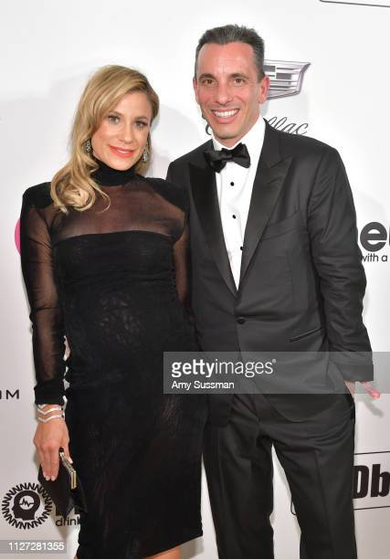 Lana Gomez and Sebastian Maniscalco attends the 27th annual Elton John AIDS Foundation Academy Awards Viewing Party celebrating EJAF and the 91st...