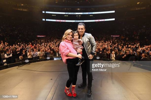 Lana Gomez Serafina Simone Maniscalco and Sebastian Maniscalco pose onstage during the Sebastian Maniscalco Stay Hungry Tour 2018 at Madison Square...