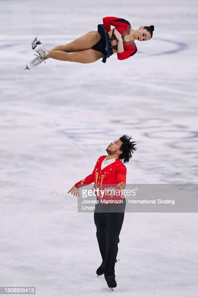 Lana Petranovic and Antonio Souza Kordeiru of Croatia compete in the Pairs Short Program during day one of the ISU World Figure Skating Championships...