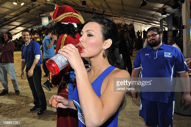 Lana Tailor competes in DIRECTV's Fifth Annual Celebrity Beach Bowl at Victory Park on February 5 2011 in Dallas Texas