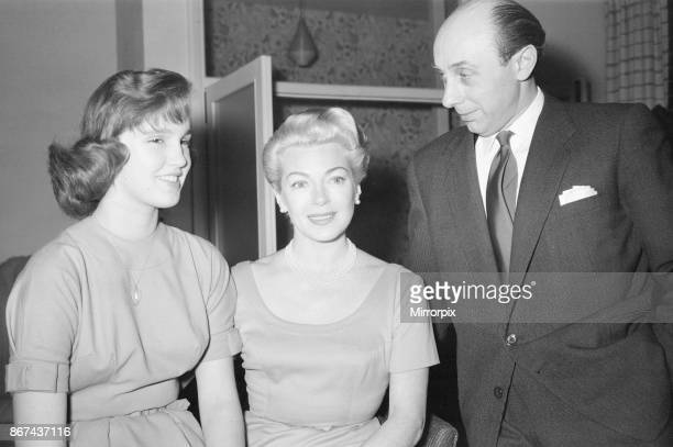 Lana Turner american film actress pictured during interview with Daily Mirror journalist Donald Zec at a hotel in London Sunday 29th December 1957...
