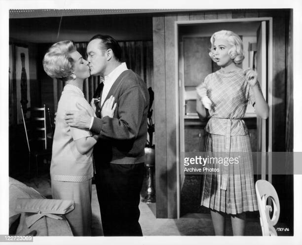 Lana Turner and Bob Hope Kiss in a scene from the film 'Bachelor In Paradise' 1961