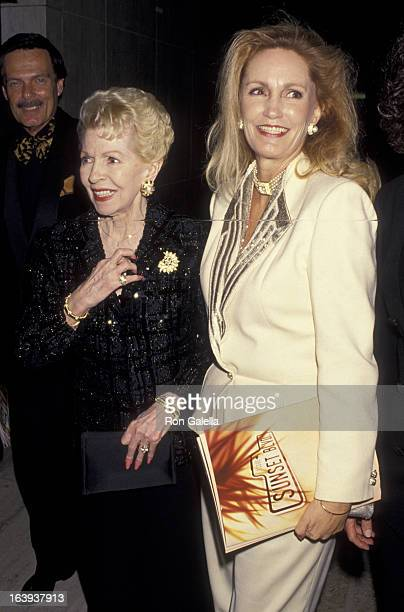 Lana Turner and Cheryl Crane attend the opening of Sunset Blvd on December 9 1993 at the Shubert Theater in Century City California