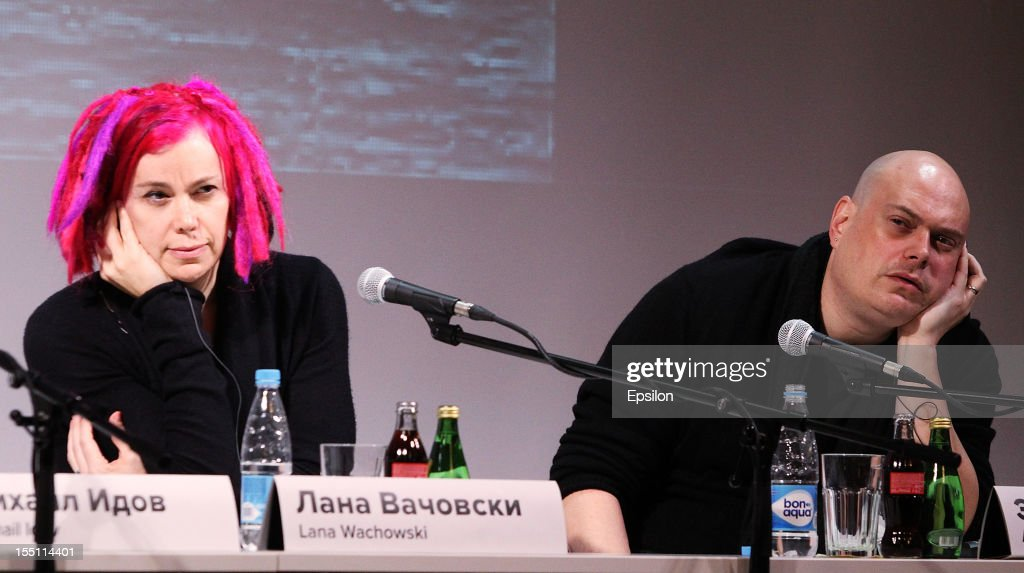 Lana Wachowski and Andy Wachowski attend the press conference of the Moscow premiere of 'Cloud Atlas' on November 1, 2012 in Moscow, Russia.