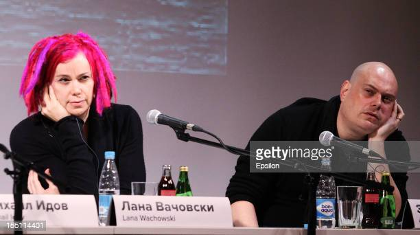 Lana Wachowski and Andy Wachowski attend the press conference of the Moscow premiere of 'Cloud Atlas' on November 1 2012 in Moscow Russia