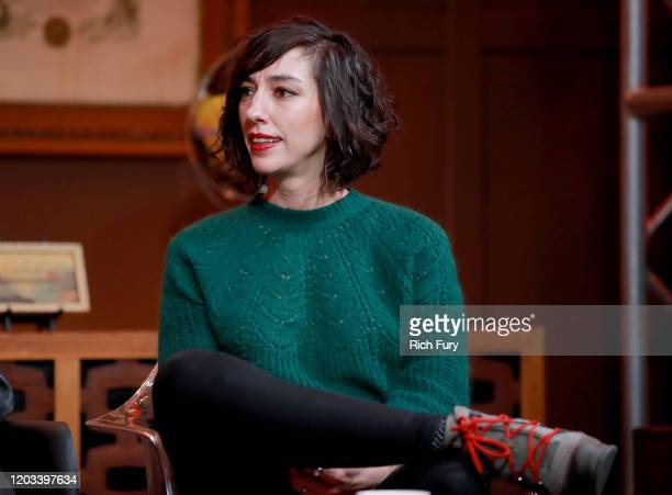 Lana Wilson speaks onstage at the 2020 Sundance Film Festival Cinema Cafe With Sam Feder Lana Wilson And Jeff Orlowski at Filmmaker Lodge on February...
