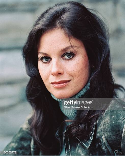 Lana Wood US actress wearing a green polo neck jumper beneath a green suede jacket circa 1970