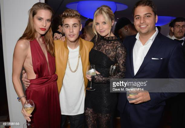 Lana Zakocela Justin Bieber Marissa Montgomery and Jamie Reuben attend the Vanity Fair And Armani Party at the 67th Annual Cannes Film Festival on...