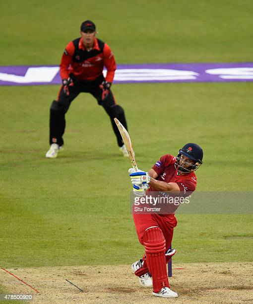 Lancashire batsman Ashwell Prince hits out during the NatWest T20 blast between Durham Jets and Lancashire Lightning at Emirates Durham ICG on June...