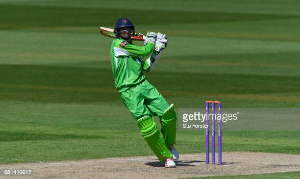 Lancashire batsman Haseeb Hameed hits out during the Royal London One Day Cup match between Lancashire Lightening and Worcestershire Rapids at Old...