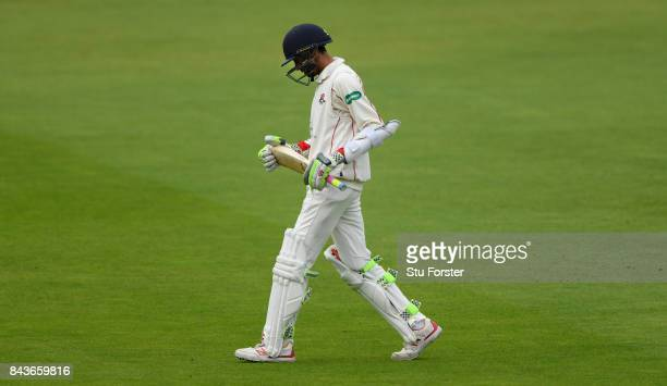 Lancashire batsman Haseeb Hameed leaves the field after being dismissed early in the morning session during day three of the Specsavers County...