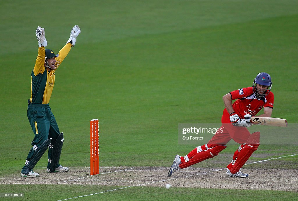 Lancashire batsman Simon Katich is lbw as wicketkeeper Chris Read appeals successfully during the Friends Provident T20 match between Nottinghamshire and Lancashire at Trent Bridge on June 15, 2010 in Nottingham, England.